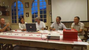 Le bureau de Biarritztarrak avec de gauche à droite : D. Villalobos, S. Ricord, JP Driolet, P. Lafitte et JC Peyreblanques.